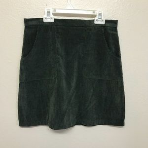 High waisted green corduroy skirt